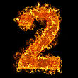 Numeric Fire Number 2 On A Black Background stock photography