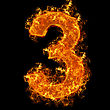 Numerical Fire Number 3 On A Black Background stock image