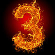 Numeric Fire Number 3 On A Black Background stock photo