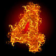 Numeric Fire Number 4 On A Black Background stock photography