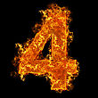 Numerical Fire Number 4 On A Black Background stock photo