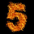 Numeric Fire Number 5 On A Black Background stock photo