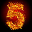 Fire Number 5 On A Black Background stock image