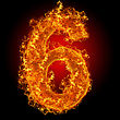 Numeric Fire Number 6 On A Black Background stock image