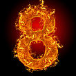 Numeric Fire Number 8 On A Black Background stock photo