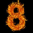 Numeric Fire Number 8 On A Black Background stock photography