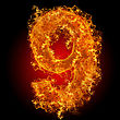 Fire Number 9 On A Black Background stock photography