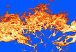 Fire On Blue Background stock image