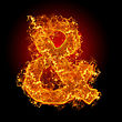 Fire Sign AND On A Black Background stock image