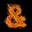 Fire Sign AND On A Black Background stock photo