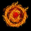Fire Sign Copyright On A Black Background stock photo
