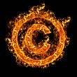 Fire Sign Copyright On A Black Background stock image