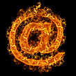 Fire Sign Mail On A Black Background stock photo