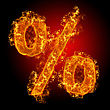 Fire Sign Percent On A Black Background stock photo