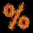 Fire Sign Percent On A Black Background stock image