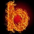 "Typescript Fire Small Letter ""b"" On A Black Background stock photo"
