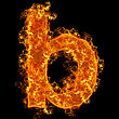 Fire Small Letter B On A Black Background