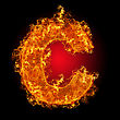 "Fire Small Letter ""c"" On A Black Background stock photo"