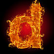 Fire Small Letter D On A Black Background stock photo