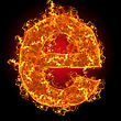 Ignite Fire Small Letter E On A Black Background stock image