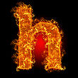 Fire Small Letter H On A Black Background stock photo