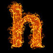 Fire Small Letter H On A Black Background