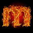 Fire Small Letter M On A Black Background stock image