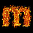 Fire Small Letter M On A Black Background