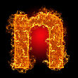 Fire Small Letter N On A Black Background stock image