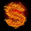 Flammable Fire Small Letter S On A Black Background stock photo