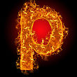 Fire Small Letter P On A Black Background stock image