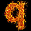 Fire Small Letter Q On A Black Background