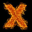 Fire Small Letter X On A Black Background