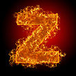 Fire Small Letter Z On A Black Background stock image
