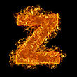 Fire Small Letter Z On A Black Background