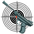 Firearm, The Gun Against The Target. stock illustration