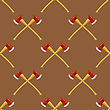 Firefighter Cross Axes SeAmless Pattern Isolated On Brown Background
