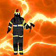 Firefighter Over Flames Background, Plenty Of Room For Text