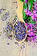 Fireweed Flowers Fresh And Dry In A Wooden Spoon On A Wooden Boards Background stock image