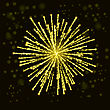 Firework Lights Up The Sky On Black Background