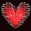 Fireworks Of Red Sparks In The Shape Of A Heart