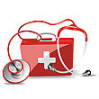 First Aid Kit Box With Stethoscope Isolated Over White Background