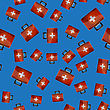 First Aid Kit Seamless Pattern On Blue Background. Medical Texture