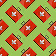 First Aid Kit Seamless Pattern On Green Backgrouns. Medical Texture