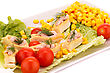 Fish Cream In Pastries, Sweet Corn, Cherry Tomato And Lettuce On White Plate