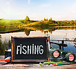 Fishing Tackle And A Blackboard On A Background Of Lake At Sunset stock photo