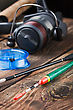 Fishing Tackle On A Wooden Table. Focus On The Float stock photo