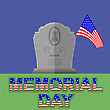 Flag Of America Flying Over Gravestone. Memorial Day Celebration Poster. Memorial Day American Flag. Memorial Day At The Cemetery
