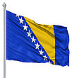 Flag Of Bosnia And Herzegovina With Flagpole Waving In The Wind