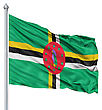 Flag Of Dominica With Flagpole Waving In The Wind stock illustration